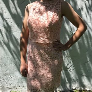 Lace Dress with Removable Popover Top in Bellini